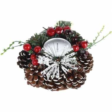 Kerstversiering kaarsenstandaard met decoratie 17 cm prijs