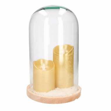 Kerstversiering stolp met 2 gouden led kaarsen prijs