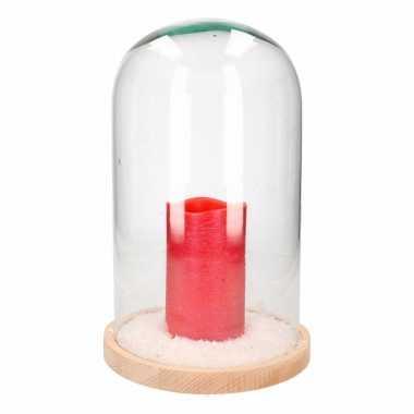 Kerstversiering stolp met lage rode led kaars prijs