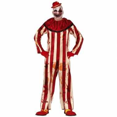Killer clown halloween verkleed kostuum rood/wit voor heren prijs