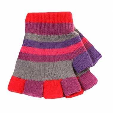Kinder handschoenen met gekleurde streepjes zonder vingers prijs