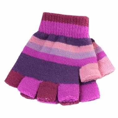 Kinder handschoenen met paarse streepjes zonder vingers prijs
