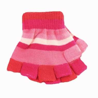 Kinder handschoenen met roze streepjes zonder vingers prijs