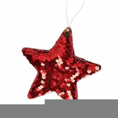 Kinder kersthangers pailletten ster rood prijs