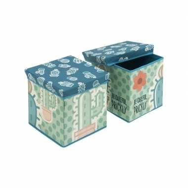 Kinderkamer opbergbox/opbergdoos blauw/groen cactus thema poef/zitje