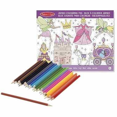 Kleurboek set met kleurpotloden met prinsessen prijs