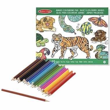Kleurboek set met kleurpotloden van wilde dieren prijs