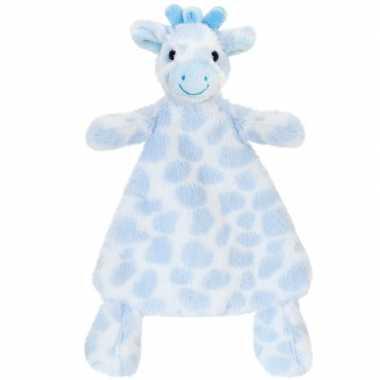 Knuffeldoekje giraffe blauw gevlekt tuttel 25 cm prijs