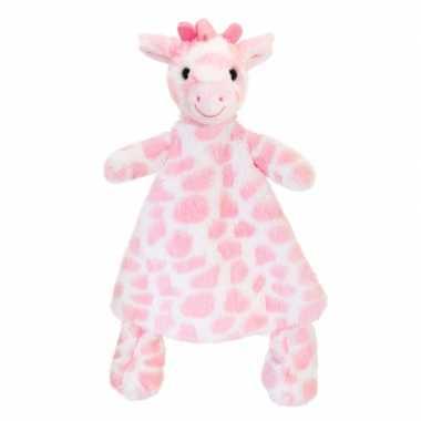 Knuffeldoekje giraffe roze gevlekt tuttel 25 cm prijs