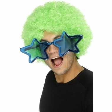Kobalt blauwe stervormige xl verkleed bril voor volwassenen prijs