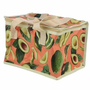 Koelbox/koeltas avocado print roze 12 liter prijs