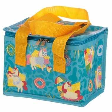 Koelbox/koeltas eenhoorn/unicorn print blauw voor 6 blikjes prijs