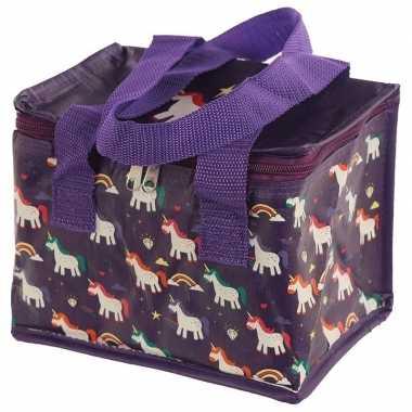 Koelbox/koeltas eenhoorn/unicorn print paars voor 6 blikjes prijs