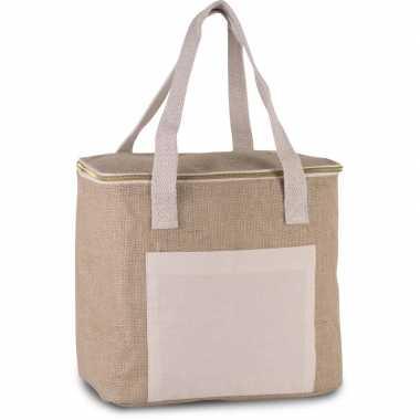 Koelbox/koeltas jute/canvas beige 12 liter prijs