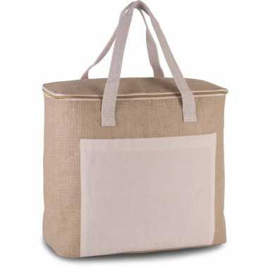 Koelbox/koeltas jute/canvas xl beige 20 liter prijs