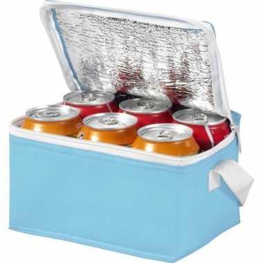 Koelbox/koeltas lichtblauw/wit voor 6/sixpack blikjes prijs