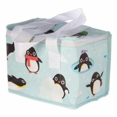 Koelbox/koeltas pinguin print blauw voor 6 blikjes prijs
