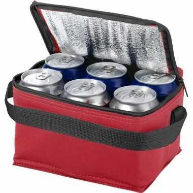 Koelbox/koeltas rood/zwart voor 6/sixpack blikjes prijs