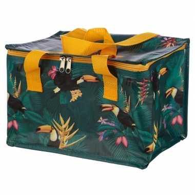 Koelbox/koeltas toekan/tropische print groen 12 liter prijs