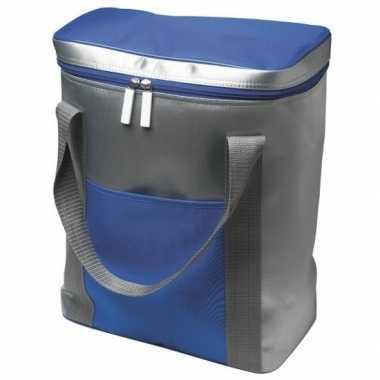 Koelbox/koeltas zilver/blauw 15 liter prijs