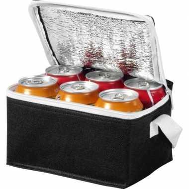 Koelbox/koeltas zwart/wit voor 6/sixpack blikjes prijs