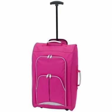 Koffer op wieltjes roze 55 cm prijs