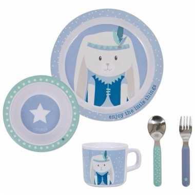 Konijntjes ontbijtset mint/blauw voor kinderen prijs