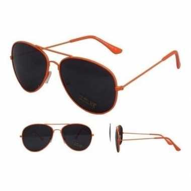 Koningsdag aviator zonnebril neon oranje voor volwassenen prijs
