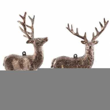 Koperbruine herten kerstornamenten kersthangers 14 cm prijs