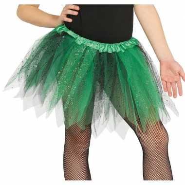 Korte heksen verkleed tule onderrok groen/zwart 31 cm voor meisjes pr