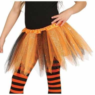 Korte heksen verkleed tule onderrok oranje/zwart 31 cm voor meisjes p