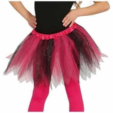 Korte heksen verkleed tule onderrok roze/zwart 31 cm voor meisjes pri