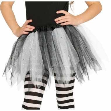 Korte heksen verkleed tule onderrok zwart/wit 31 cm voor meisjes prij