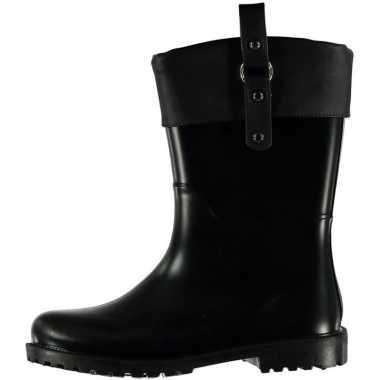 Korte regenlaarzen zwart met omslag en gesp voor dames maat 37 prijs