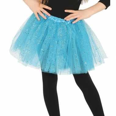 Korte tule onderrok lichtblauw 31 cm voor meisjes prijs