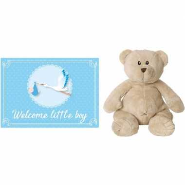 Kraamcadeau beren knuffel 17 cm met welcome little boy wenskaart /ans