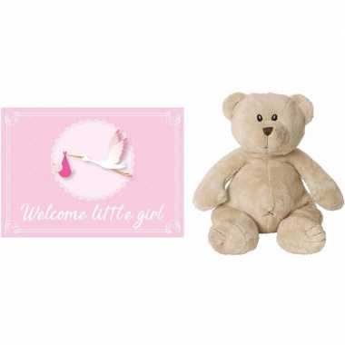 Kraamcadeau beren knuffel 17 cm met welcome little girl wenskaart /an