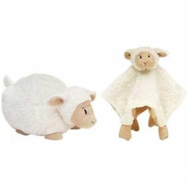 Kraamcadeau schaapjes/lammetjes ivoor wit happy horse knuffeldoekje e