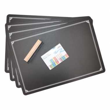 Krijtbord placemat 4 stuks met krijtjes en wisser prijs