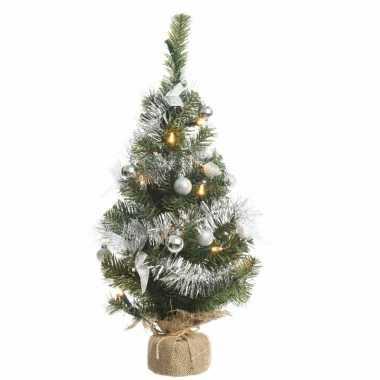 Kunstkerstboom groen/zilver 60 cm met 20 warm witte lampjes prijs