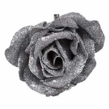 Kunstroos zilver met glitters op clip 9 cm prijs