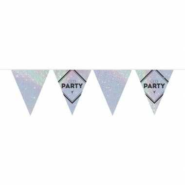 Lets party holografische feest versiering vlaggenlijn 10 meter prijs