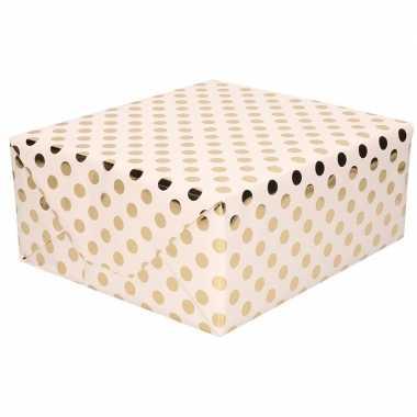Licht roze folie geschenkpapier gouden stip 200 x 70 cm prijs