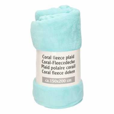 Licht turquoise blauwe warme fleece deken 150 x 200 cm prijs