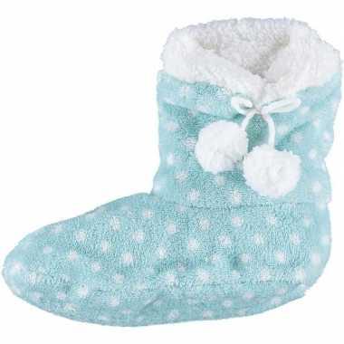 Lichtblauwe hoge sloffen/pantoffels stippen voor meisjes maat 28-30 p