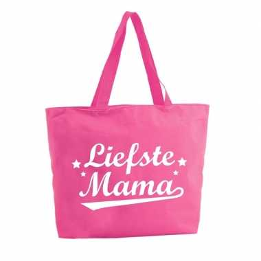 Liefste mama boodschappentas / strandtas fuchsia roze 47 cm prijs