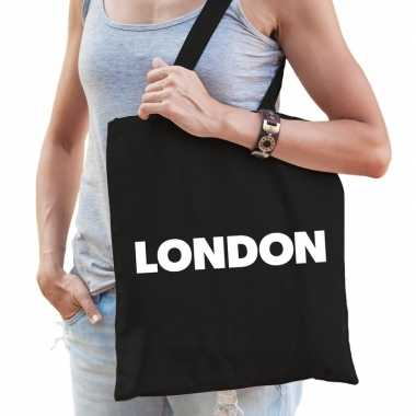 Londen schoudertas zwart katoen met london bedrukking prijs