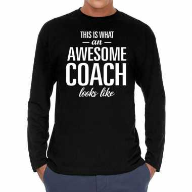 Long sleeve t-shirt zwart met awesome coach bedrukking voor heren pri