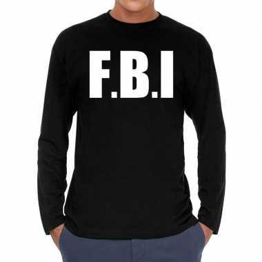 Long sleeve t-shirt zwart met f.b.i. bedrukking voor heren prijs