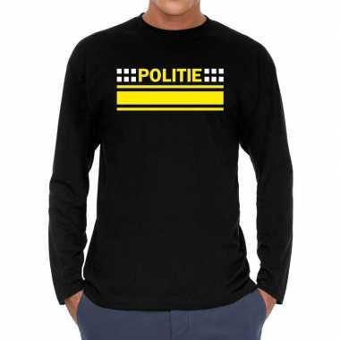 Long sleeve t-shirt zwart met politie bedrukking voor heren prijs